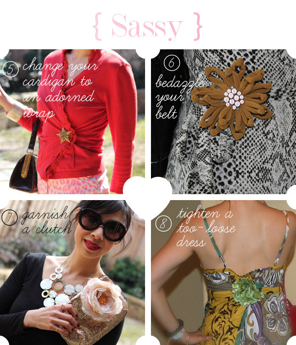 style of sam, how to wear a brooch, ways to wear a brooch, tighten a dress, decorate a clutch, close a cardigan