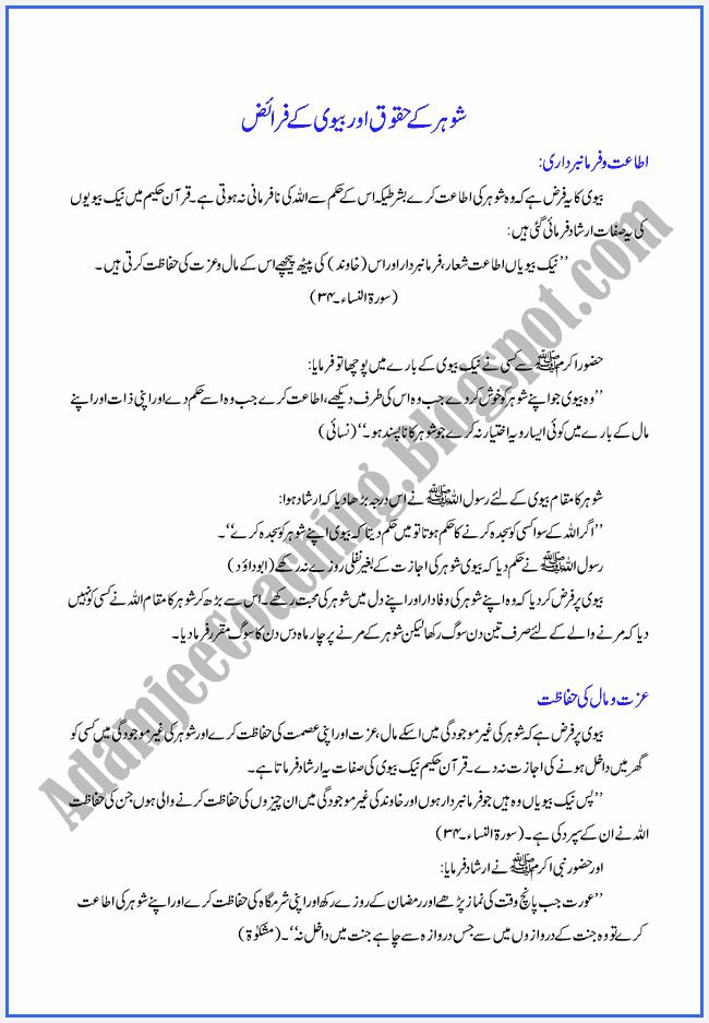 XI-Islamiat-Notes-Haqooq-ul-ebad-Shohar-kay-Haqooq