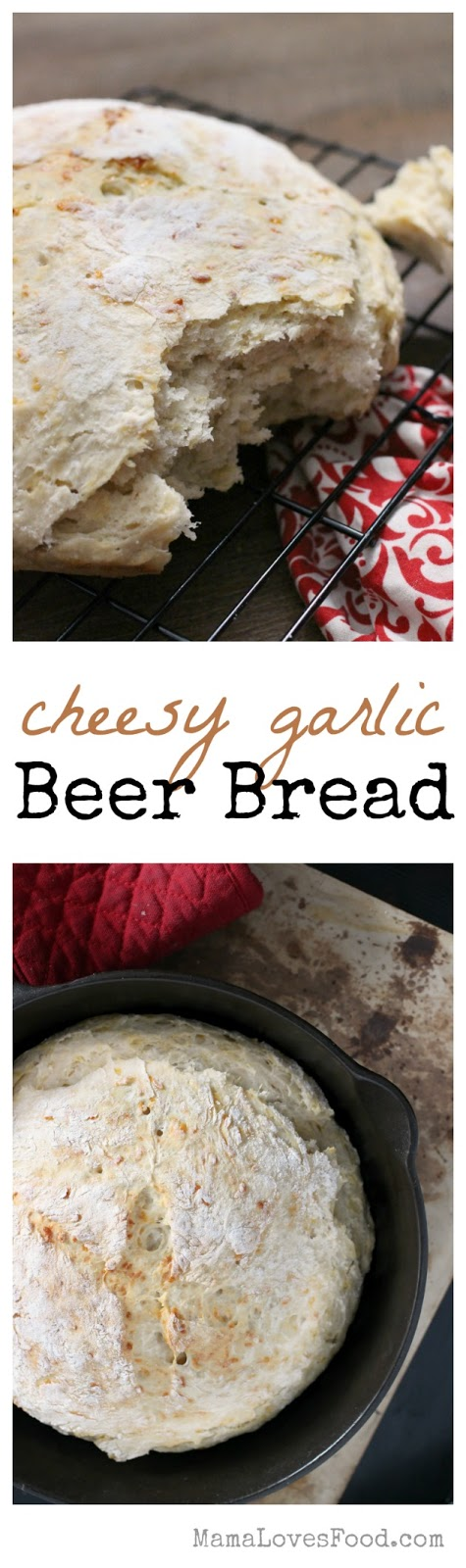No Knead Cheesy Garlic Beer Bread recipe