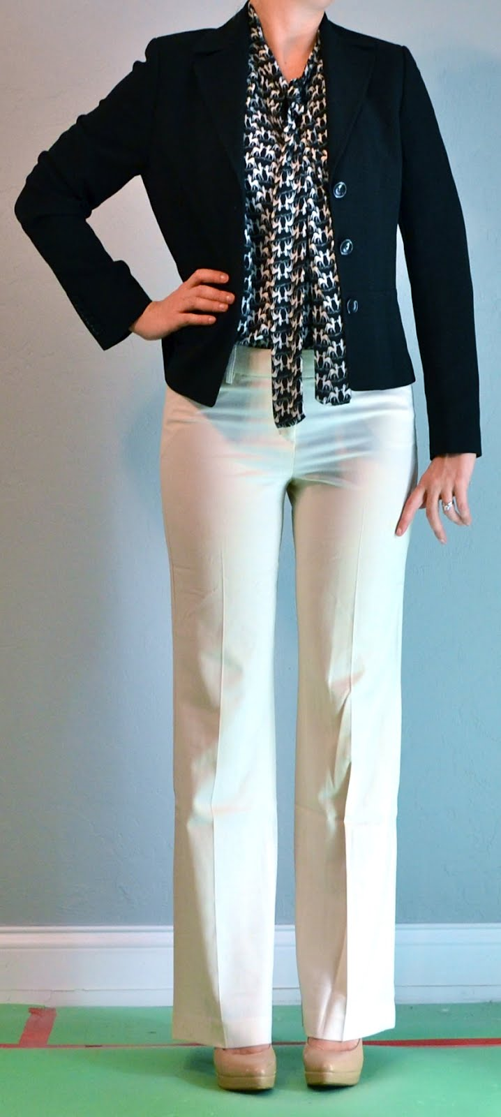 Outfit post tie blouse blazer cream pant | Outfit Posts