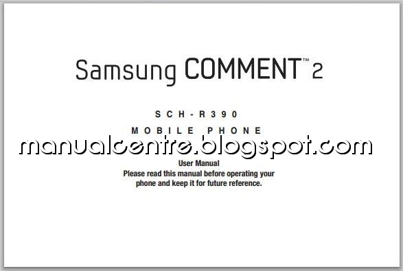 Samsung Comment 2 Manual Cover