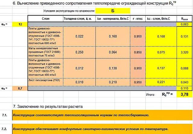 Рис.1. Скриншот экрана программы - калькулятора для расчета сопротивления теплопередаче перекрытия