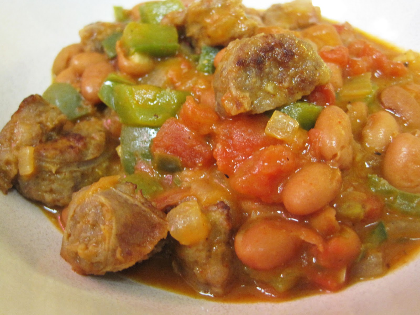 Rachel vs. Ramen: Italian Sausage and Pinto Bean Stew