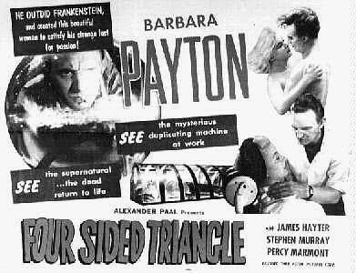 Four Sided Triangle Film Poster Featuring James Hayter, Barbara Payton, and Stephen Murray