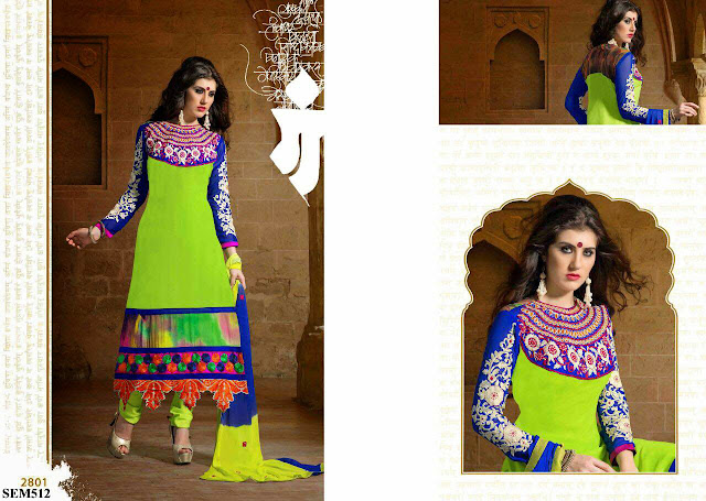 Buy Online Embroidery Neck Long Salwar Kameez