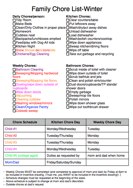 My Little Life: Large Family Chore Checklist...for Kiddos That ...