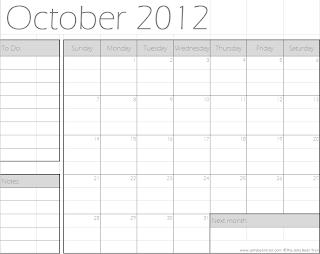 October 2012 Calendar - Minimal
