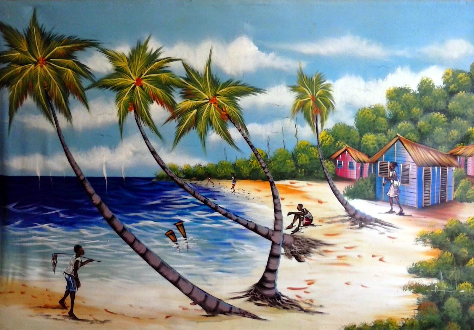 Haitianarts painting beaches Las Galeras
