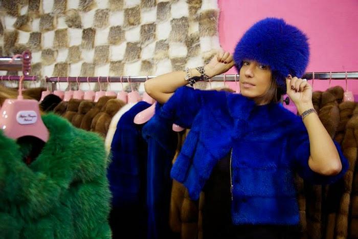 pelliccia colbacco blu