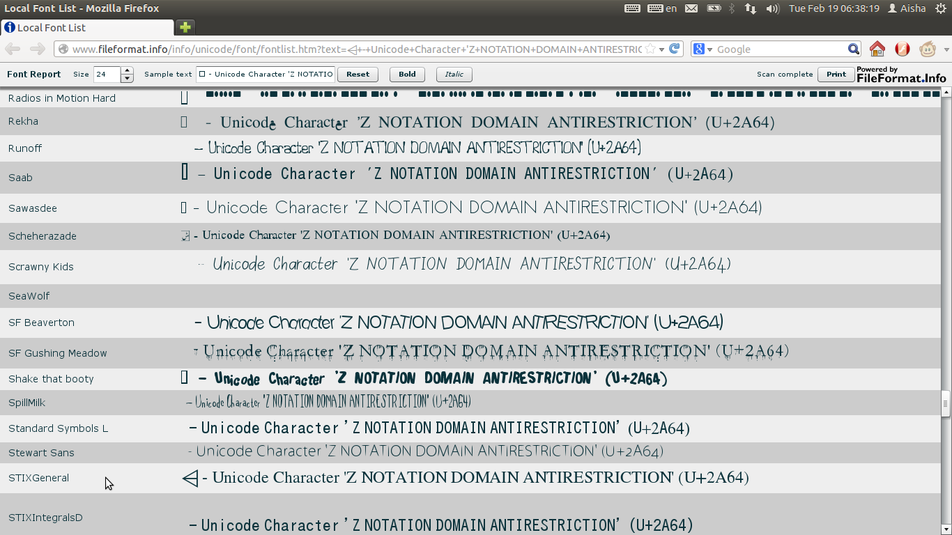 Ubuntu digest installing fonts for z notation symbols pic 5 checking local fonts after installing a font that supports the symbol in pic 1 buycottarizona Gallery