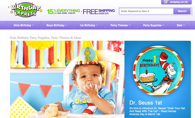 Birthday Express homepage and free shipping coupon image #cbias