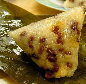 Rice dumpling filled with red bean paste (zongzi) typically famous in China during Duanwu festival or Dragon Boat Festival