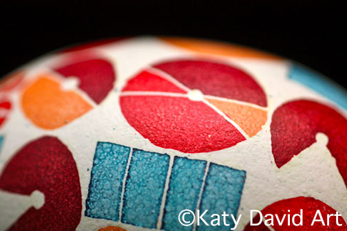 Contemporary Batik Eggshell: Irrigation Study in reds and blues