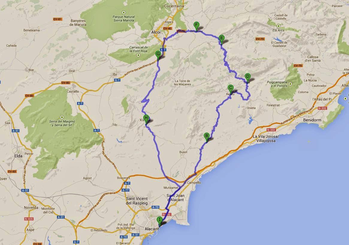 Ruta en moto por Alicante
