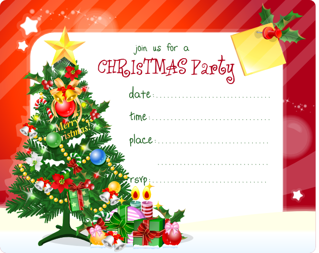 Crafty image with free printable christmas party invitations
