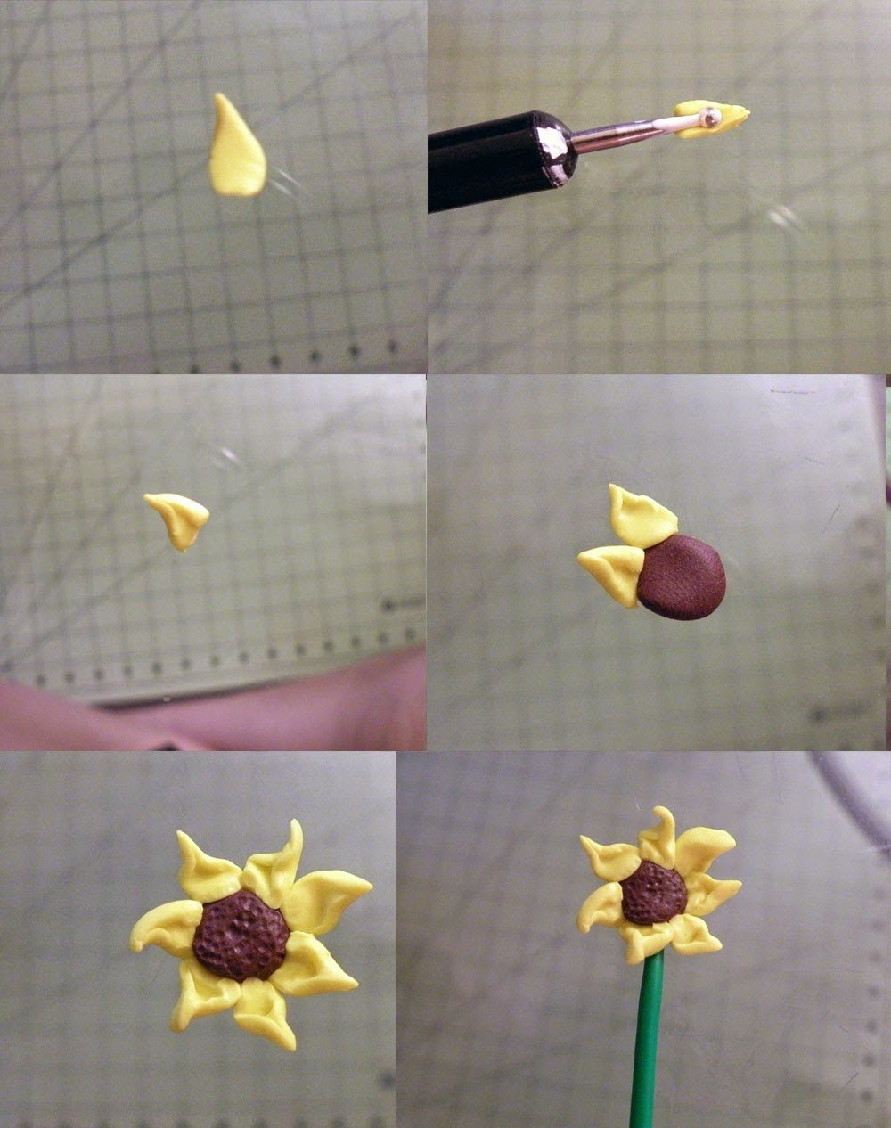 DIY 5 easy different polymer clay flowers. Sunflower