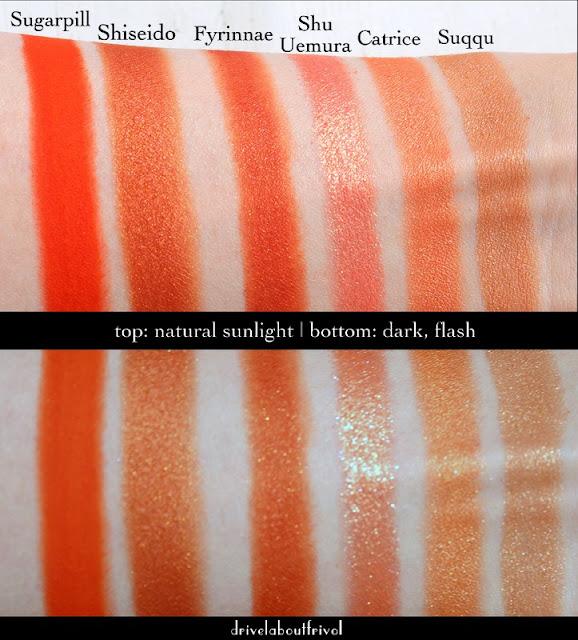 orange eyeshadow swatches Sugarpill Flamepoint Shiseido Fire Fyrinnae Electro-Koi, Shu Uemura G Orange 251, Catrice Dalai Drama, Suqqu Komorebi