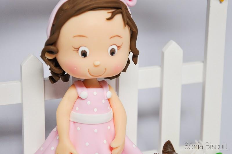 Quadrinho Porta de Maternidade Cheguei Biscuit Menininha Menina