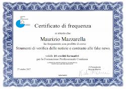 """Certificato di Frequenza """"Strumenti di verifica delle notizie e contrasto alle fake news"""""""
