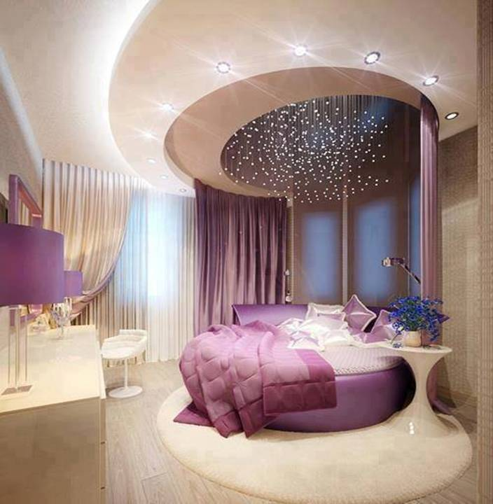 Home decor purple luxury bedroom designs for Round bed design images