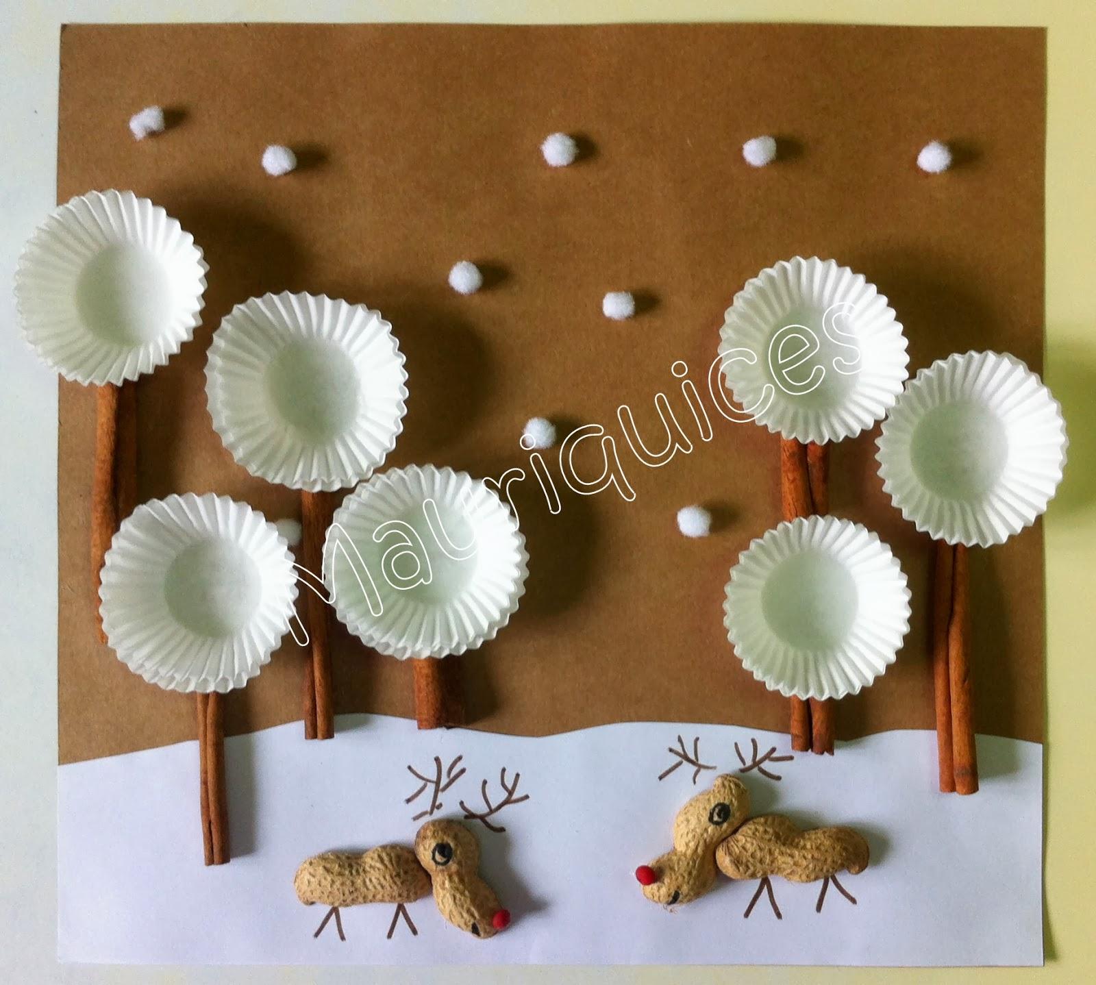 Postal com renas de casca de amendoim IMG_00321