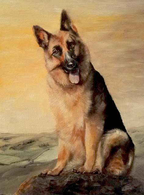 oil painting of German Shepherd dog, dog painting, pet painting by Karen