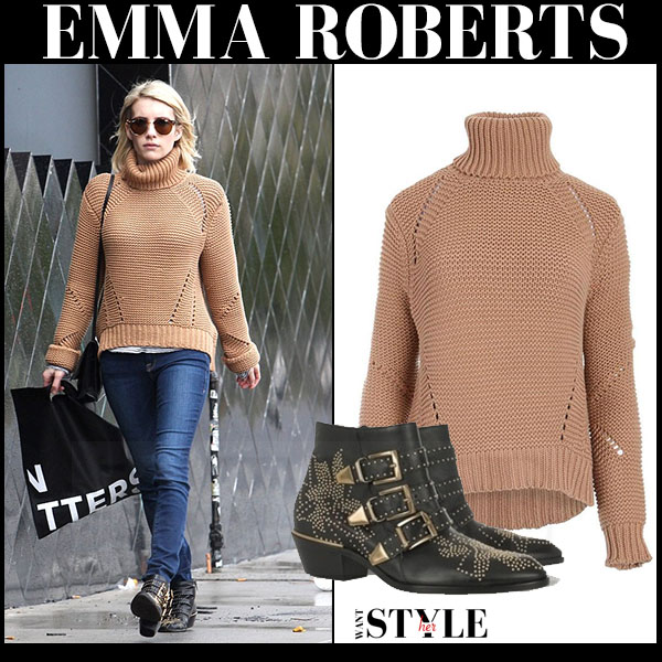 Emma Roberts in camel knit joes jeans akasha sweater, skinny jeans and studded chloe susanna ankle boots what she wore