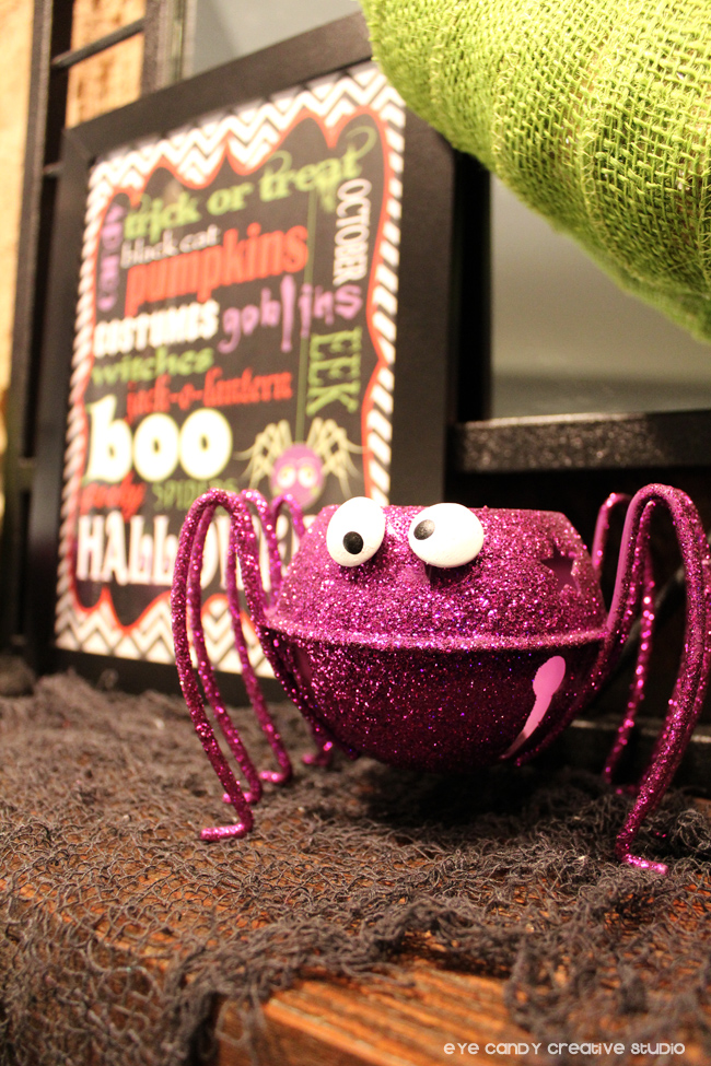 glam spider, candleholder, subway art, purple spider decor, mantel decor