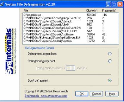 Sysinternals PageDefrag