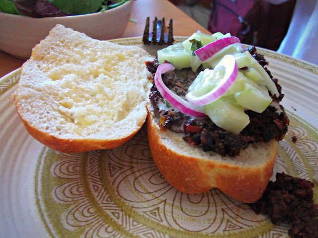 ... pickle spears with caper-dill mayo, watermelon, salad, sloppy joe