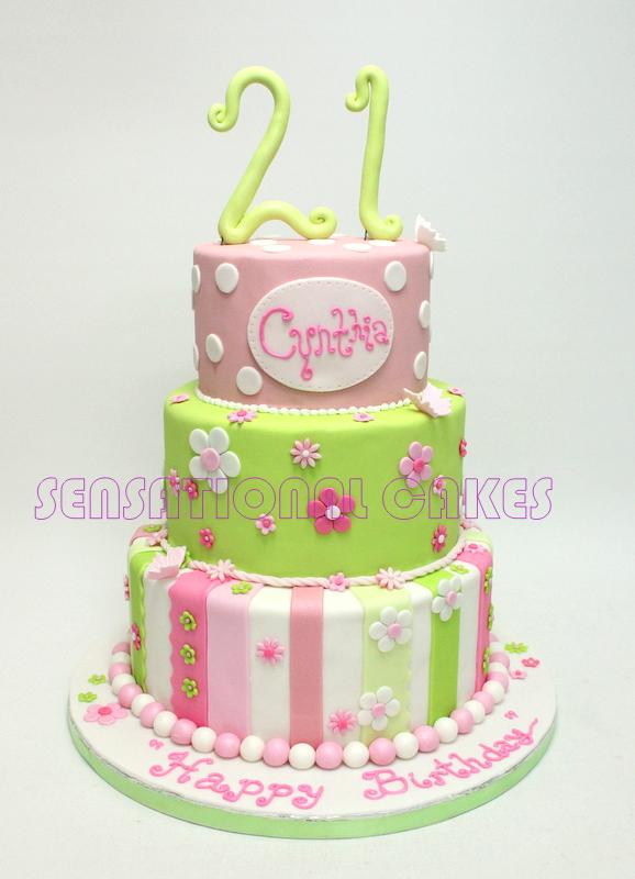 The Sensational Cakes Bright Pastel 21st Design Birthday Cake