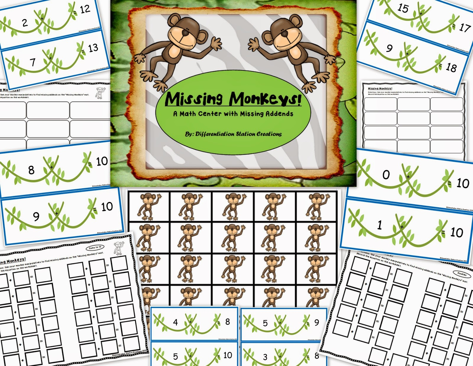 http://www.teacherspayteachers.com/Product/Missing-Monkeys-Math-Centers-with-Missing-Addends-Differentiated-678445