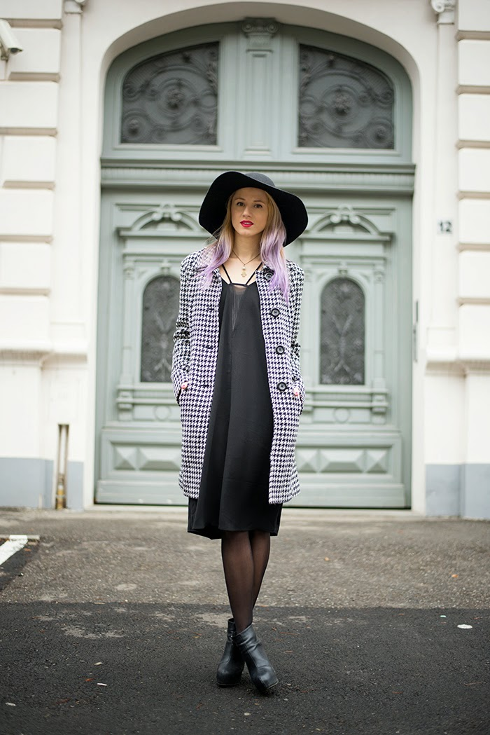 Skinny Buddha C&A houndstooth coat H&M black dress hat