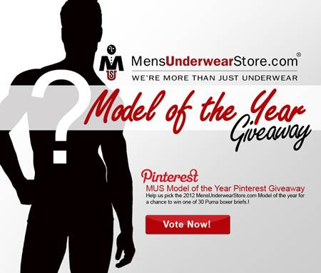 Model of the year Pinterest giveaway by Mensunderwearstore