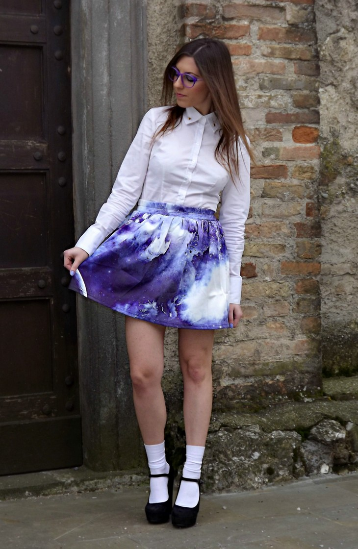 Chicnova Printed Galaxy Skirt Zara Blouse Firmoo Violet Lilac Purple Glasses Forever 21 Black Mary Jane Heels Kiko Lavander Nailpolish 338