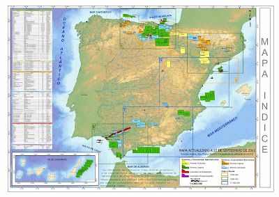 Mapa das jazidas não-convencionais espanholas