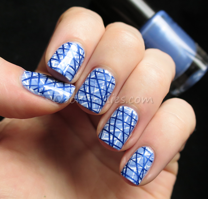 Essence Absolutely Blue with Konad White, Catrice Denim Moore, China Glaze Scandalous Shenanigans and DRK-A