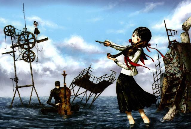 anime girl,anime violin,Tukiji Nao