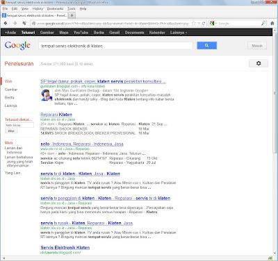 "Hasil SERP di Google dengan kata kunci ""tempat servis elektronik di Klaten"""