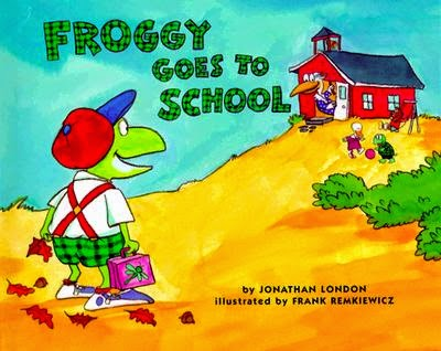 http://www.amazon.com/Froggy-Goes-School-Jonathan-London/dp/0140562478/ref=sr_1_1?s=books&ie=UTF8&qid=1411321747&sr=1-1&keywords=froggy+goes+to+school