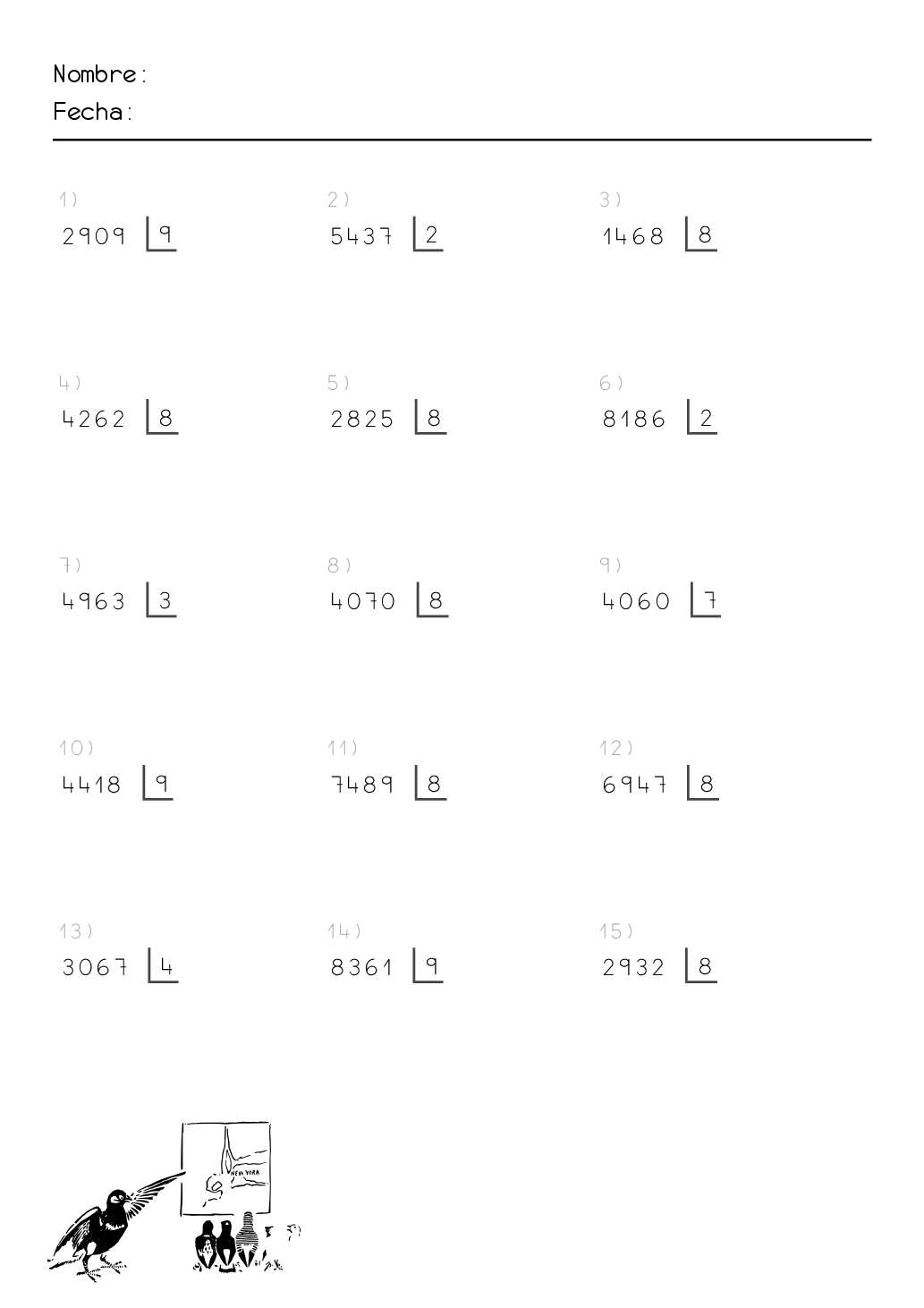 ejercicios de divisiones para imprimir