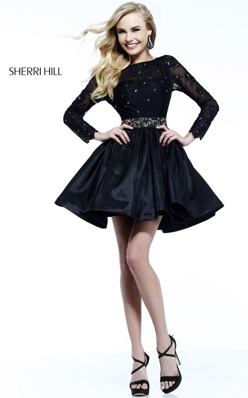 Sherri Hill Short Black Lace Dress