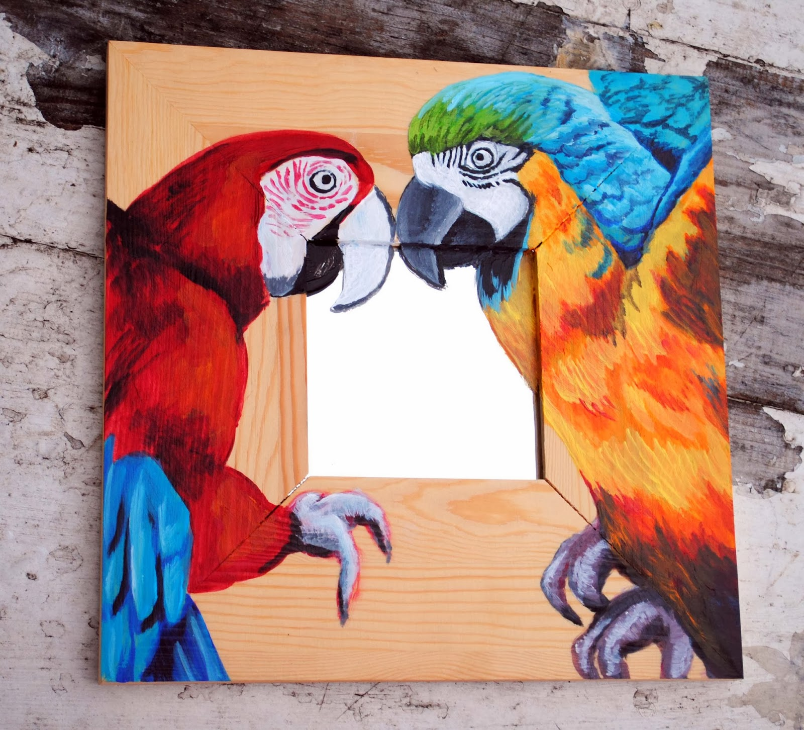 Art Original Painting on Wood with Mirror, Hand Painted Macaws