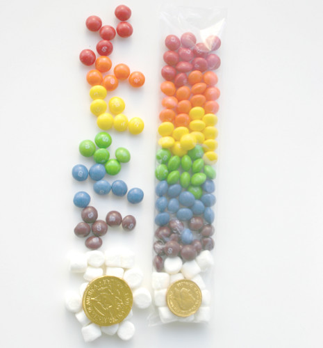Skittles Candy, marshmallow, gold chocolate