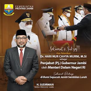 Dr Hari Nur Cahya Murni MSi Jadi Penjabat Gubernur Jambi