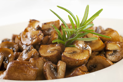 simple and super easy baby shower food ideas, dessert inspirations - mushrooms marinated with balsamic vinegar,olive oil,garlic and rosemary