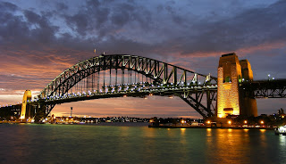 The Sydney Harbour Bridge at sunset.