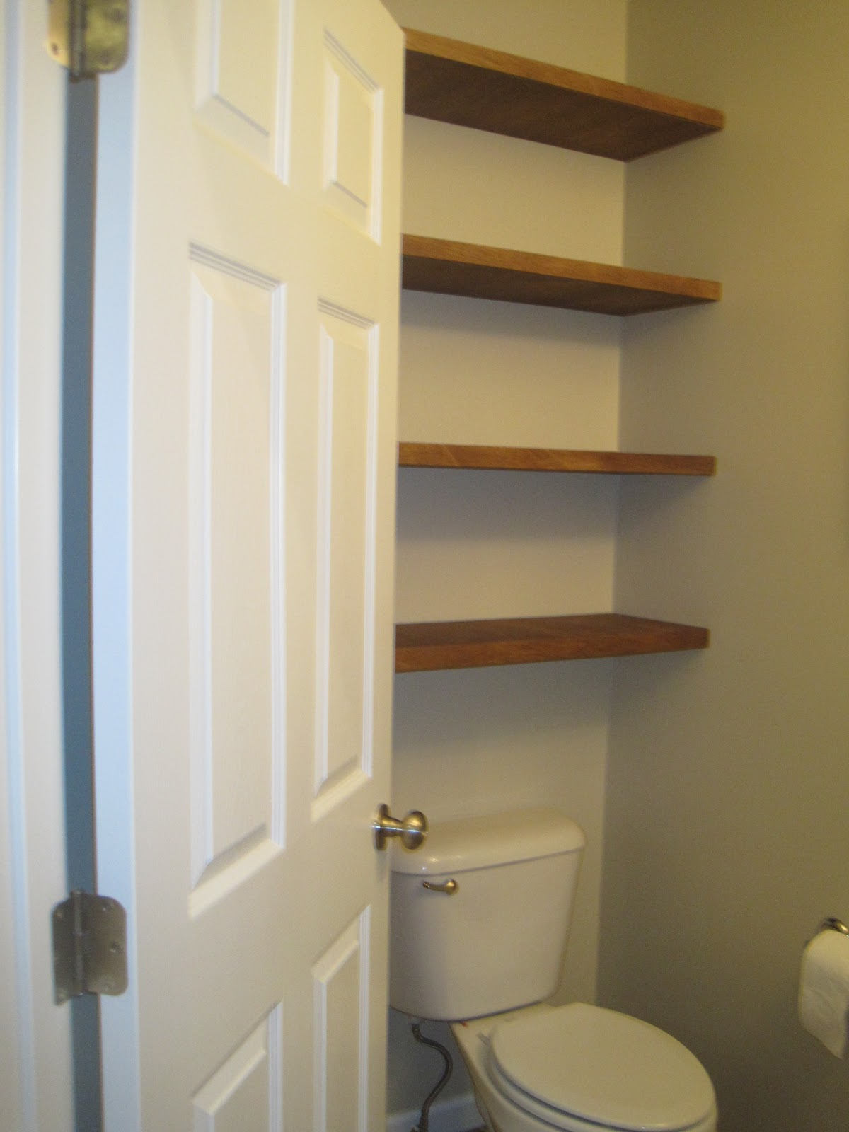 Designed to dwell adding storage in a tiny bathroom - Floating shelf ideas for bathroom ...