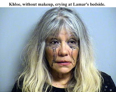 Khloe Kardashian without makeup crying Lamar