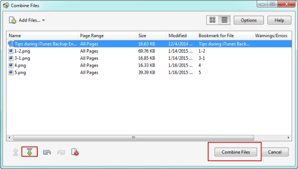 arrange added files list